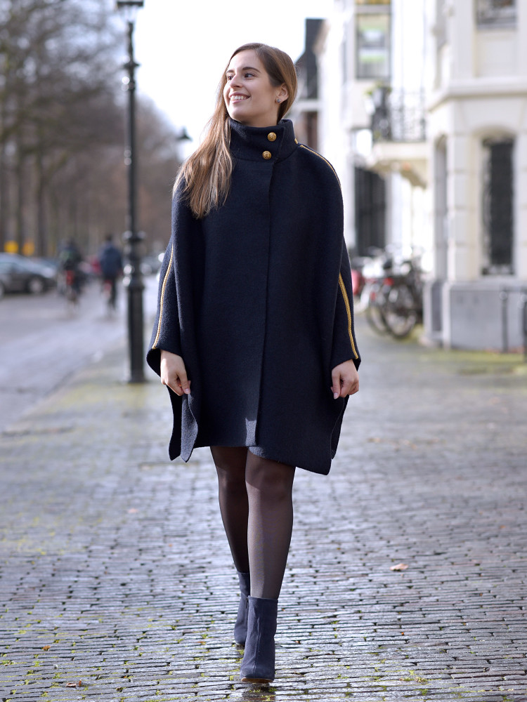 Navy inspired cape