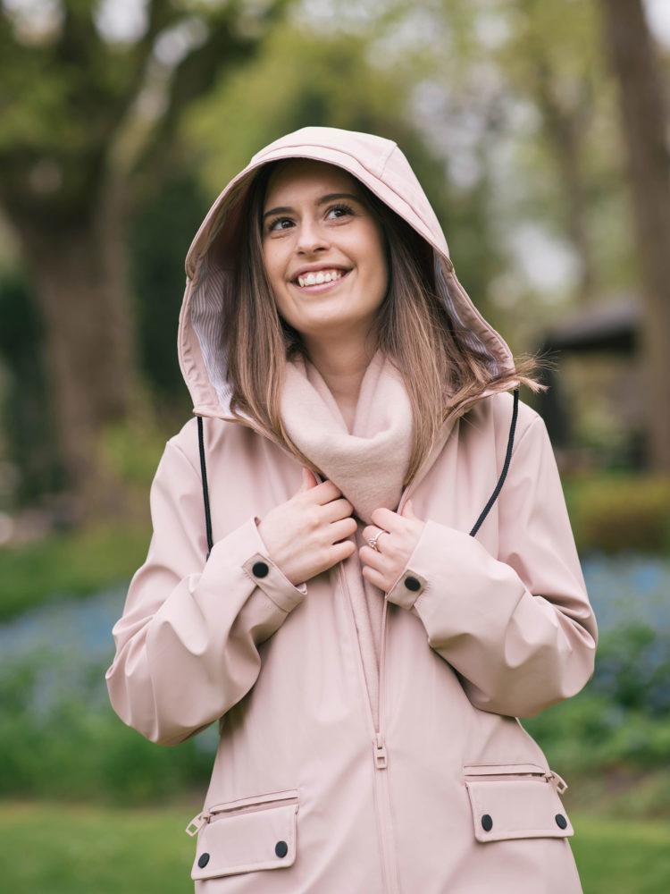 A pink raincoat