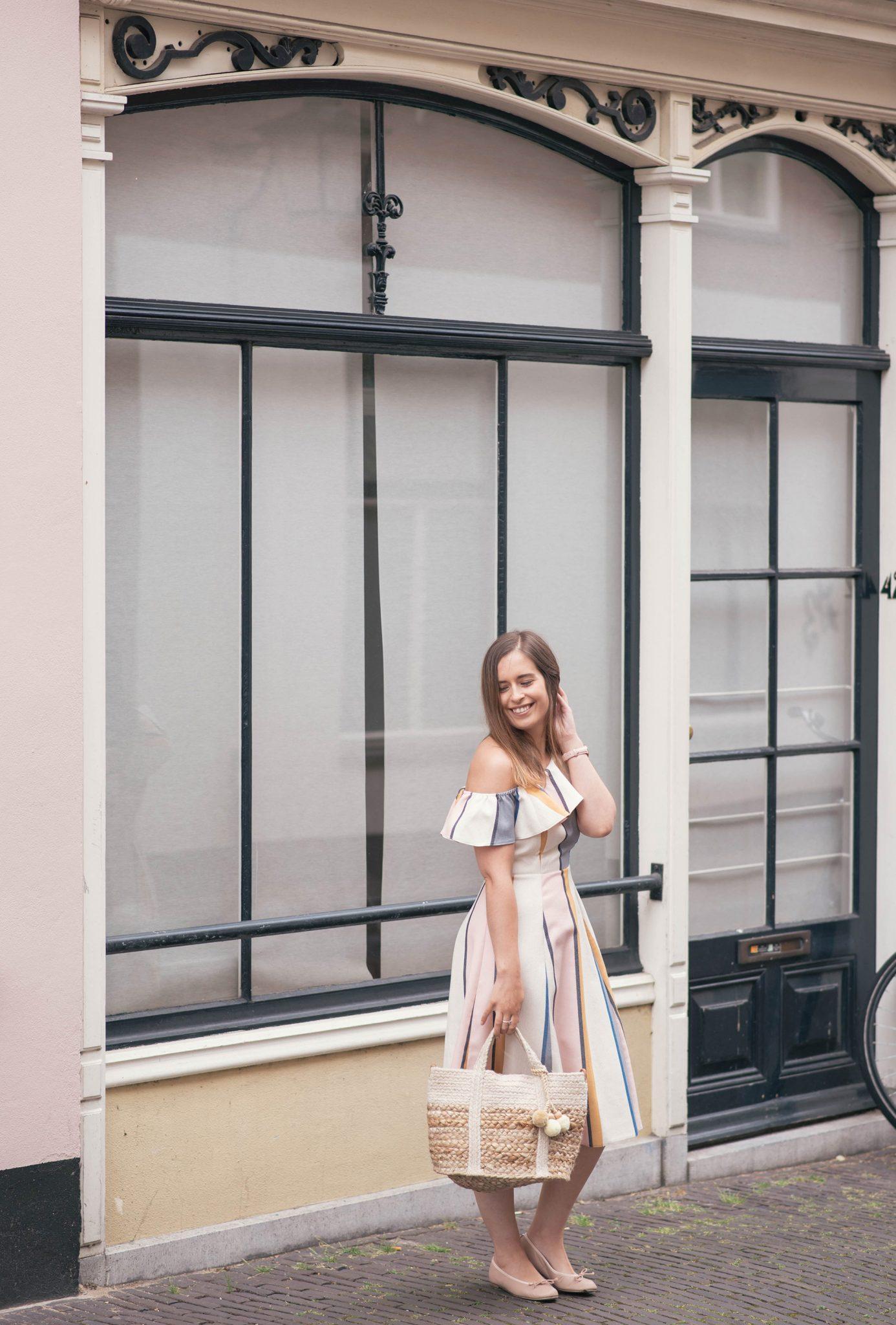 one-shoulder-ruffle-striped-dress-thepetitecat-favorite-blogger-dress