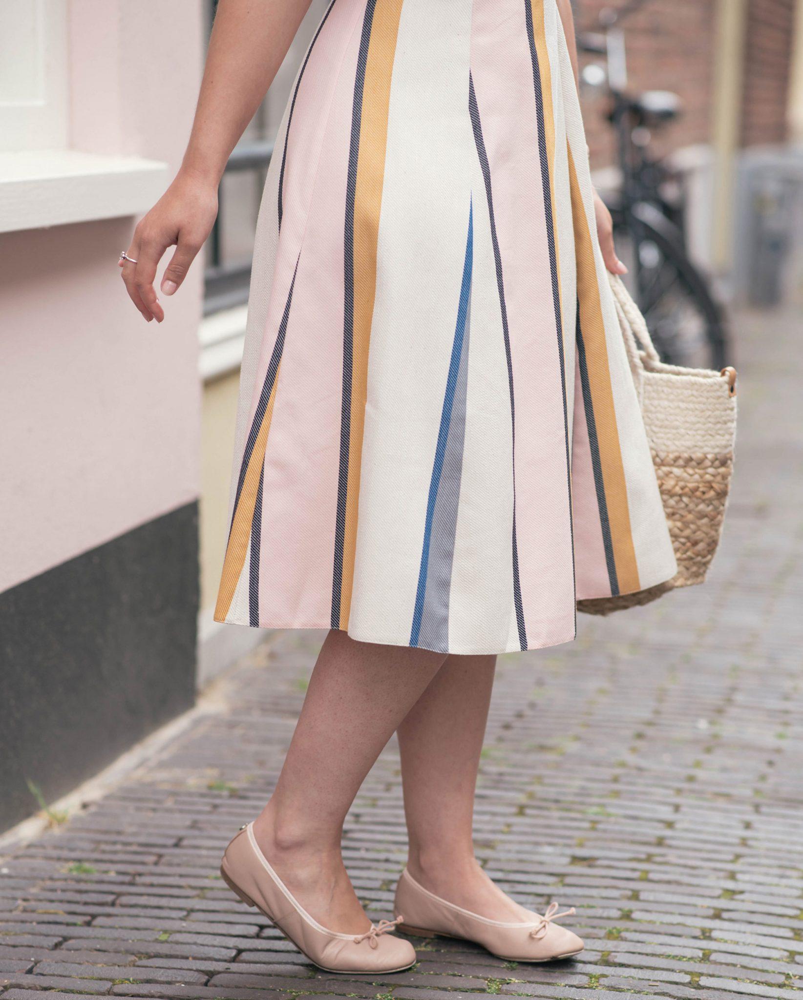 one-shoulder-ruffle-striped-dress-thepetitecat-summer-pastels