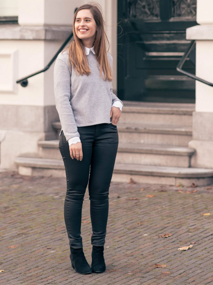 Scalloped collar shirt and #memade bow sweater